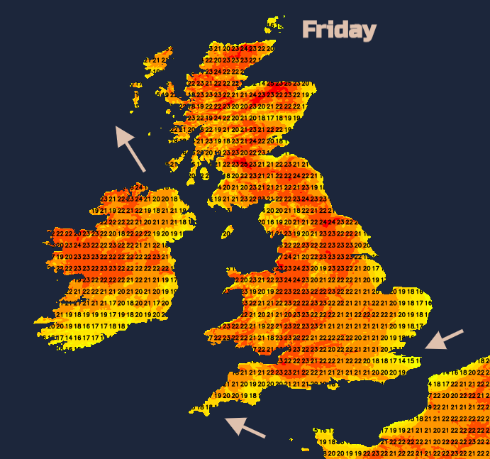 UK temperatures Friday Heatwave