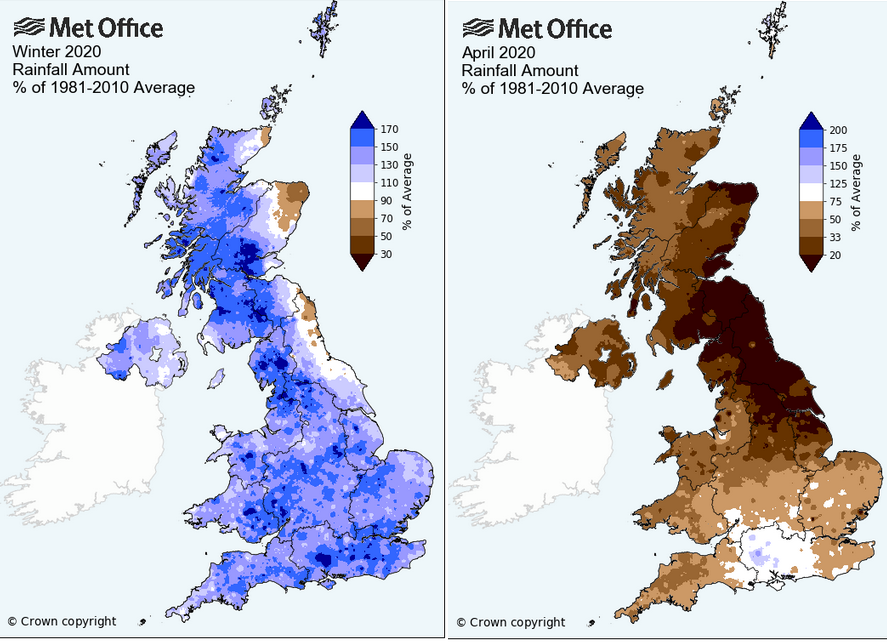 Winter rainfall UK and April 2020