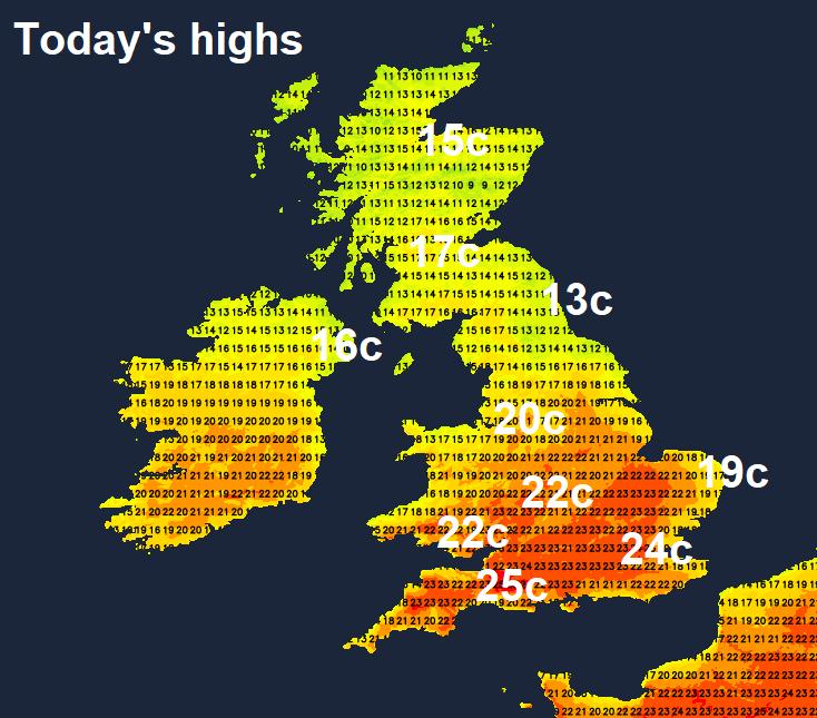 Maximum temperatures across the UK today