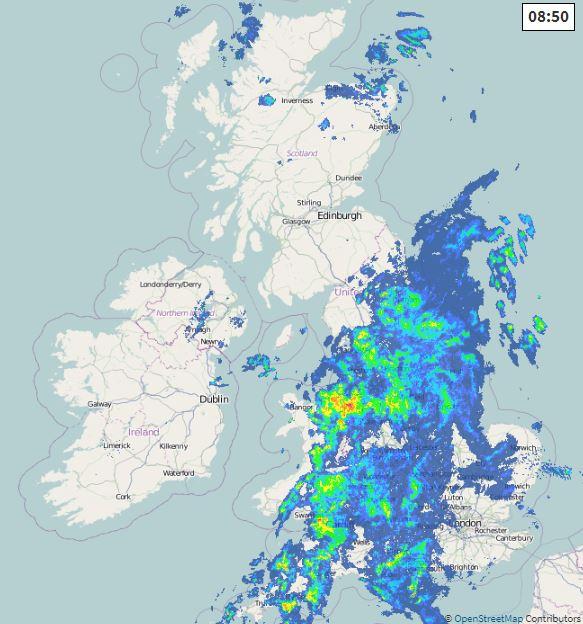 Radar earlier this morning