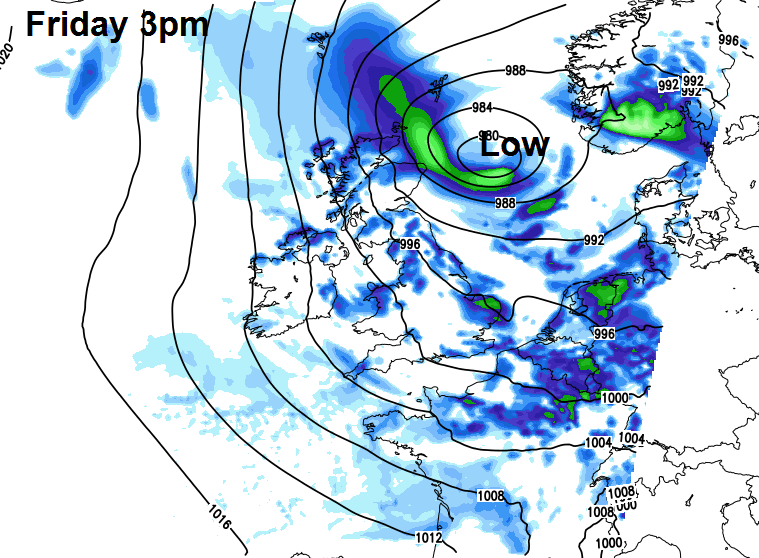 Low pressure near to the east coast on Friday