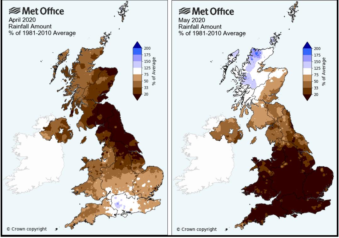 April and May UK rainfall average