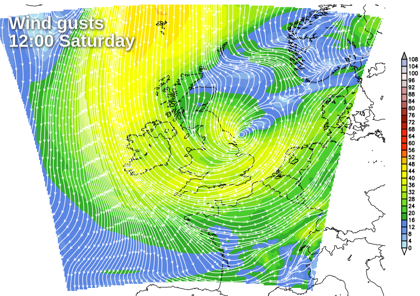 Gusting winds on Saturday