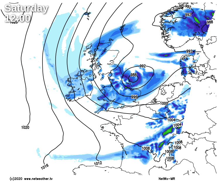 Low pressure near to the east coast on Saturday
