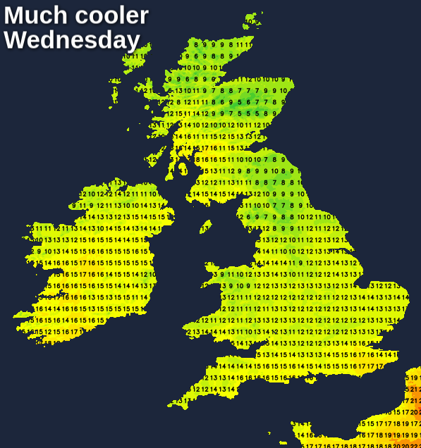 Much cooler on Wednesday