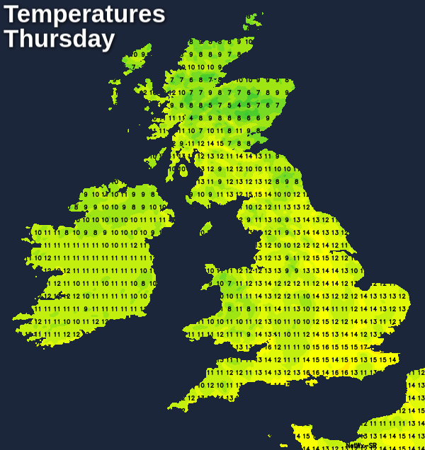 Cool temperatures on Thursday
