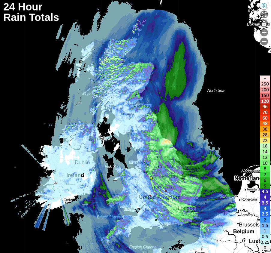 Rainfall totals over the last 24 hours