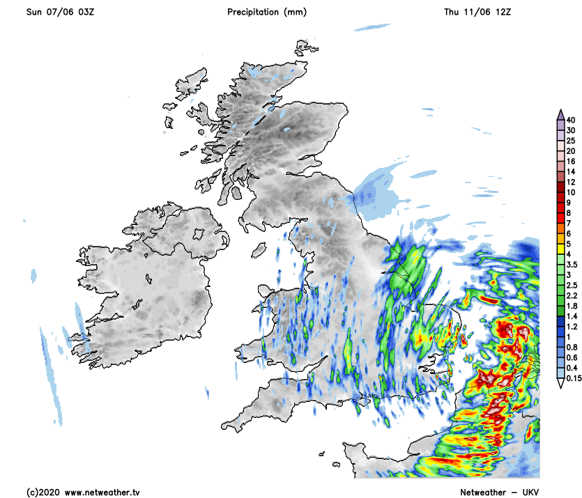 Showers and heavy rain over England and Wales on Thursday