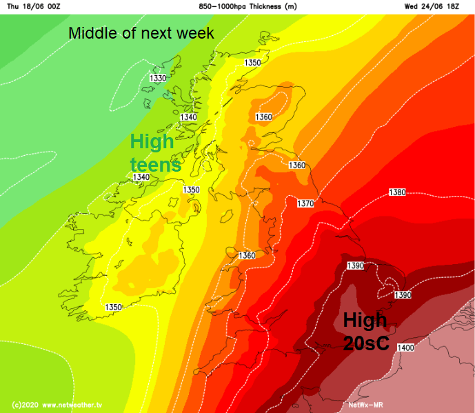 850hpa thickness chart showing hotter continental air moving over the UK