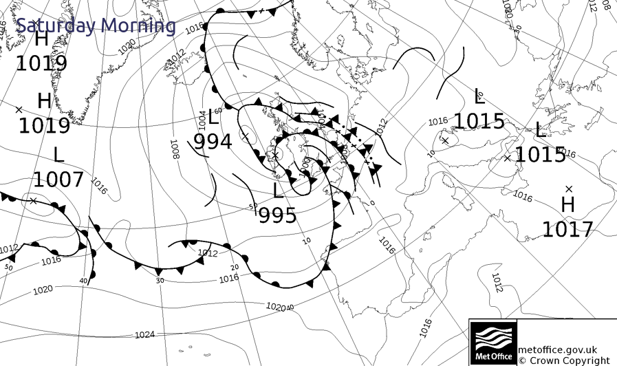 Multitude of fronts and troughs spiralling around low pressure