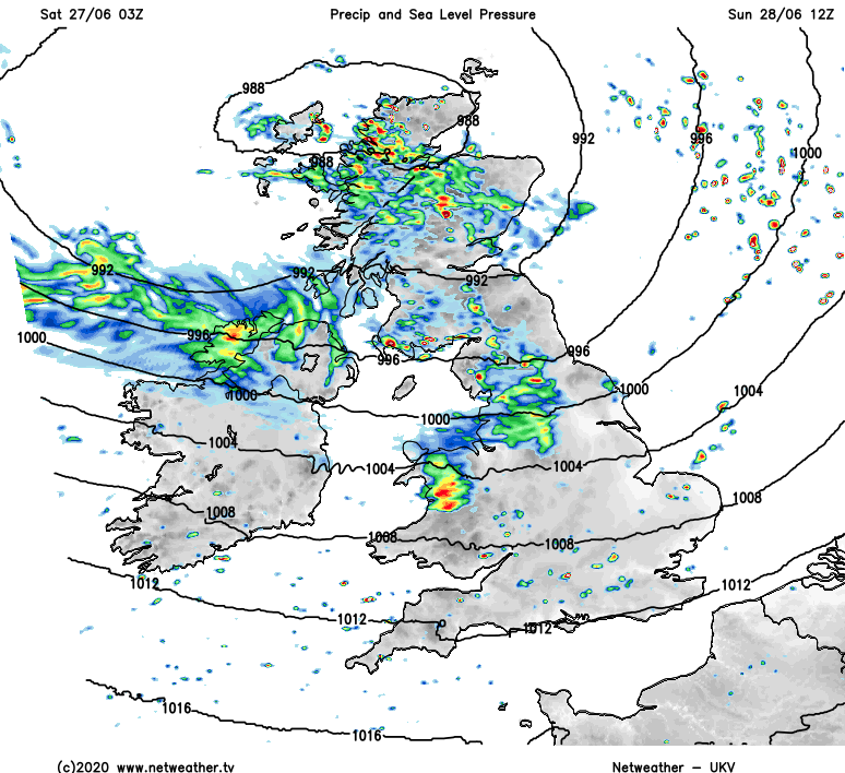 Low pressure over the north of Scotland on Sunday