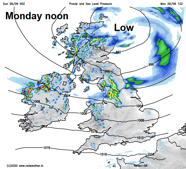 Low pressure close to Scotland on Monday