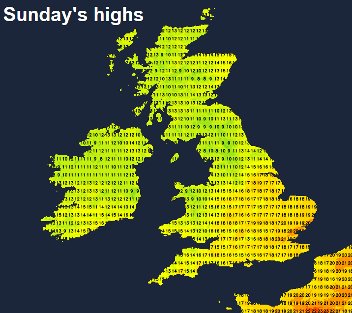 Temperatures on Sunday