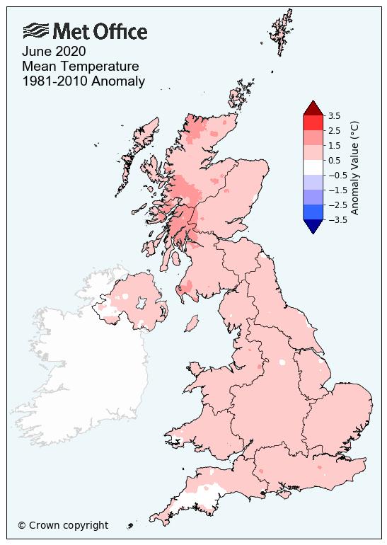 June UK 2020 temperatures
