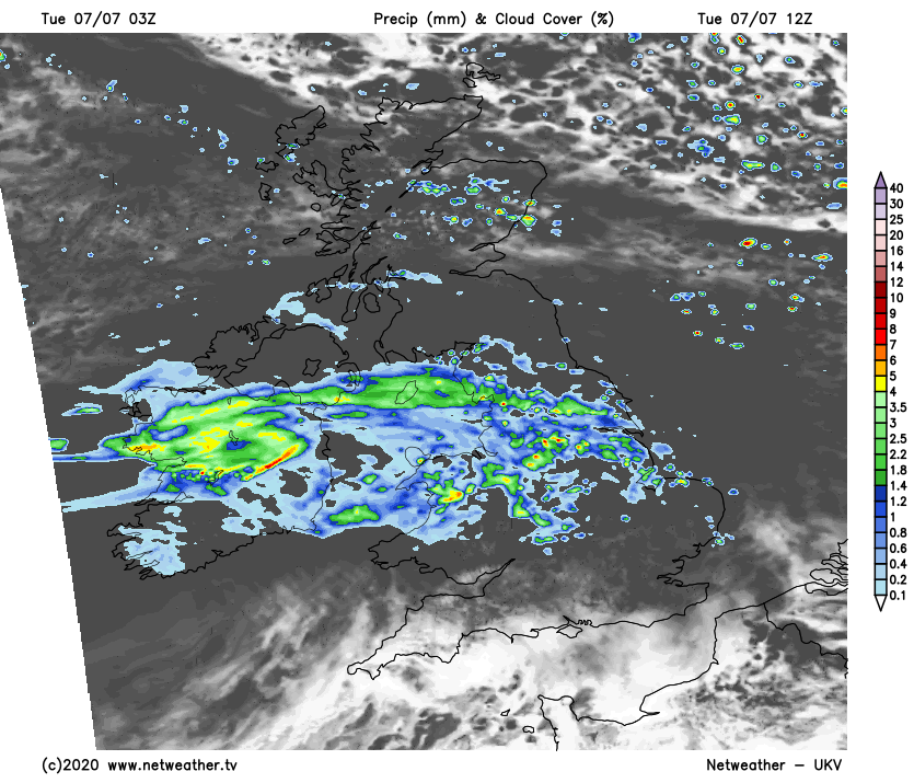 Rain in central areas today