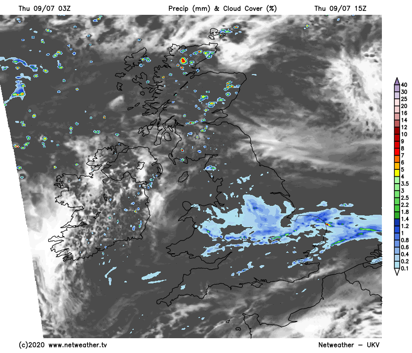 Sunshine and Showers in Scotland, overcast in England and Wales