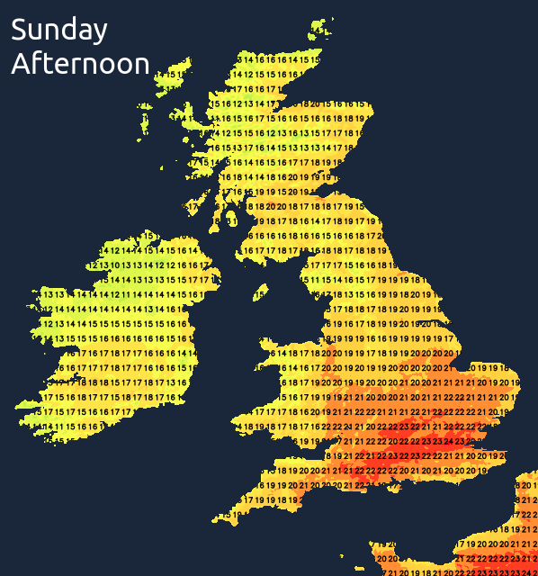 Temperatures on Sunday afternoon