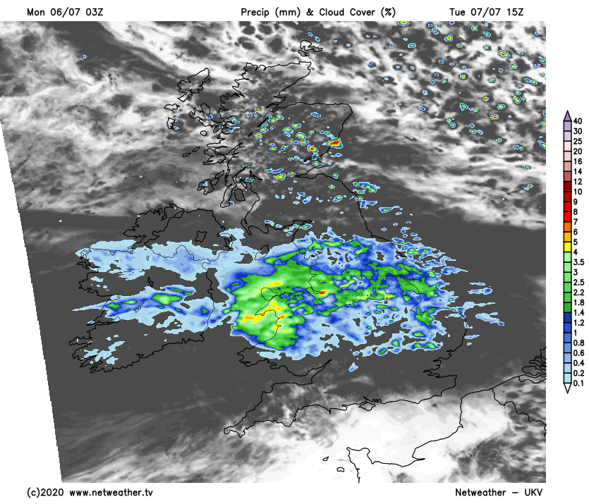 Rain affecting England and Wales on Tuesday