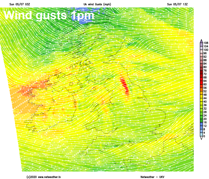 Wind gusts this afternoon