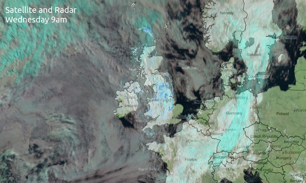 Satellite and radar image from earlier wednesday, showing cloudy skies and drizzly rain