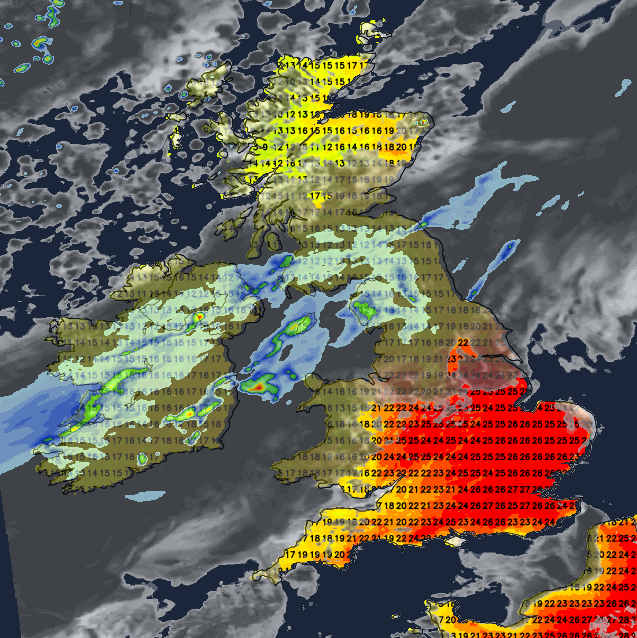 Rain moving down from the northwest on Friday - still very warm ahead of it