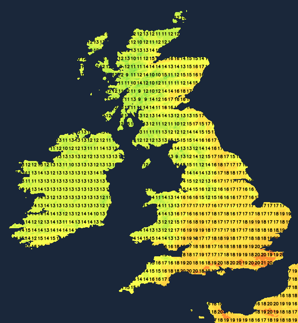 Temperatures at 1500 today
