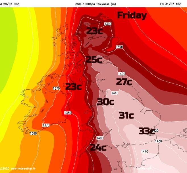 High temperatures UK Friday