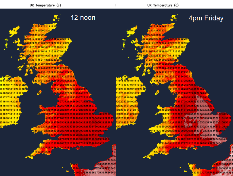 Morning and afternoon temps Friday 31st July uK