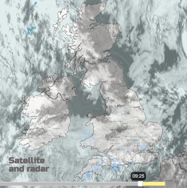 UK radar satellite rain and cloud cover