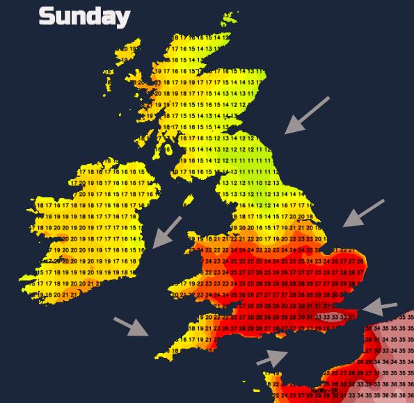 Sunday temperatures UK heat