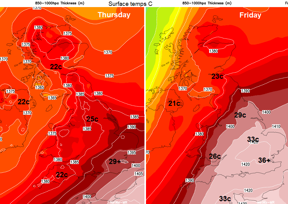 Heatwave lasting through the weekend for southern Britain - 38c Possible
