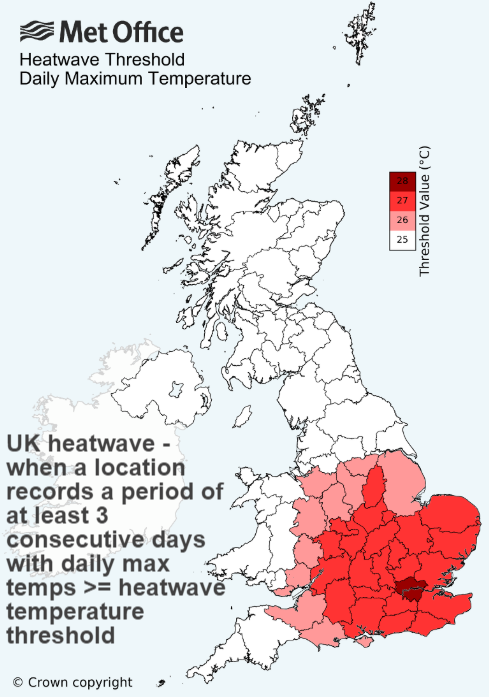 UK heatwave threshold temperatures