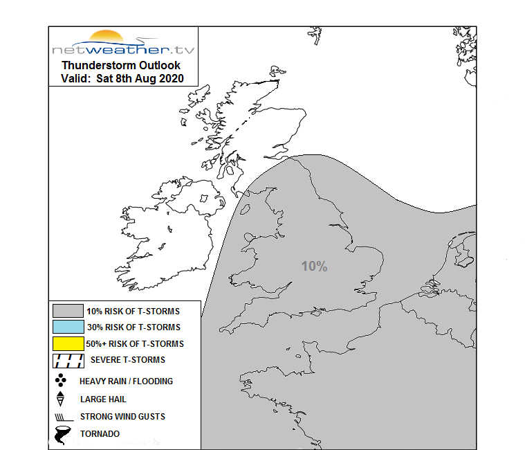 THUNDERSTORM OUTLOOK - SAT 8TH AUG 2020