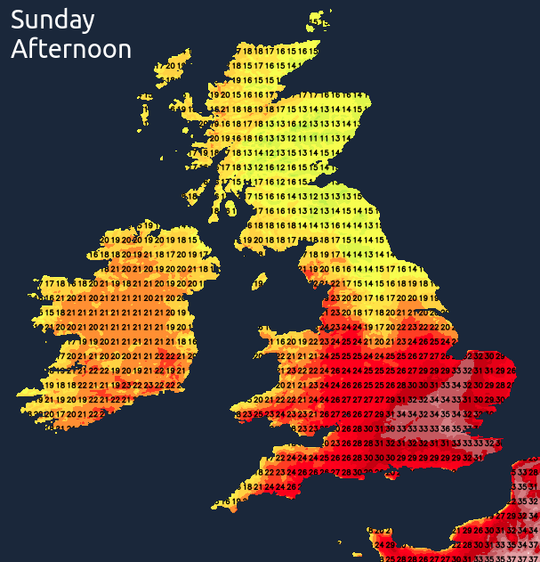 Another hot day on Sunday in southern and central areas