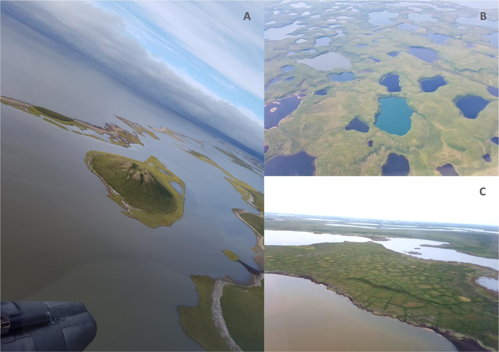 A Pingo near Tuktoyaktuk (A), colourful thermokarst lakes (B) and ice-wedge polygons or patterned ground (C)