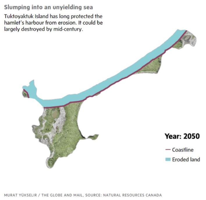 Estimated loss of land on Tuktoyaktuk by 2050
