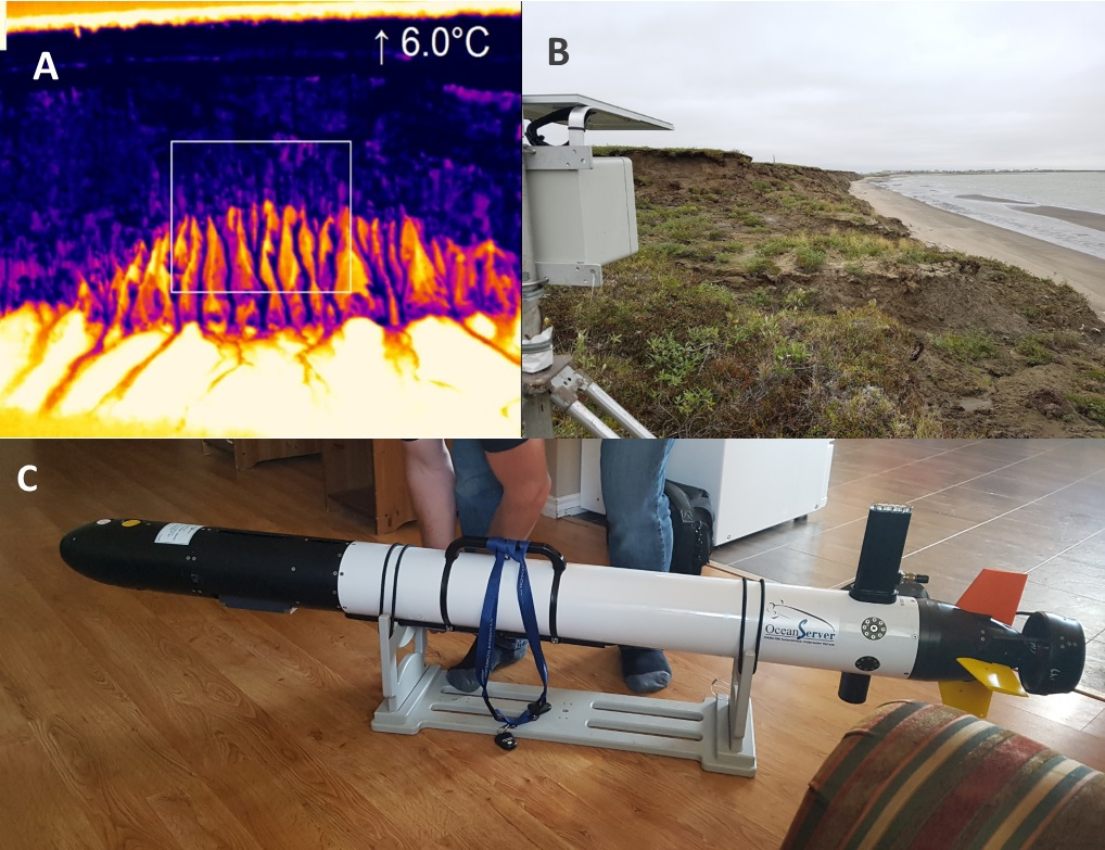 Thermal camera imagery (A), solar time-lapse camera on Tuk Island (B) and (C) the autonomous underwater vehicle IVER