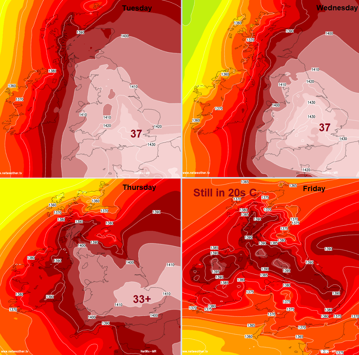 UK temperatures heatwave