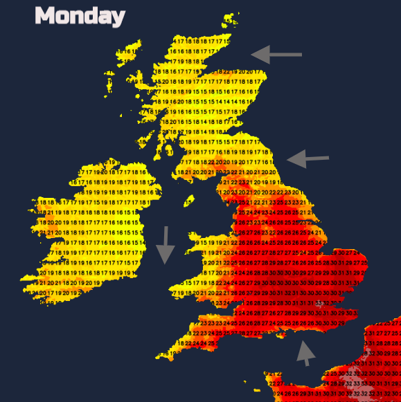 Temperatures on Monday