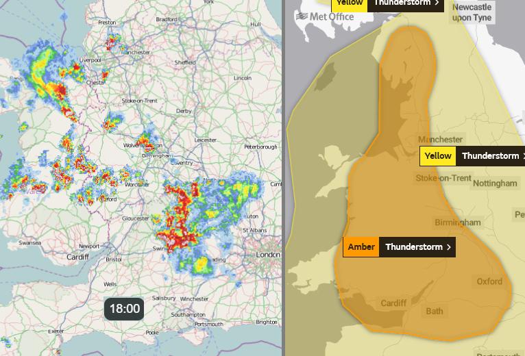 Amber warning heatwave thunderstorms UK England Wales