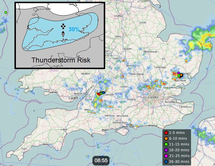 Netweather Radar with UK thunderstorms