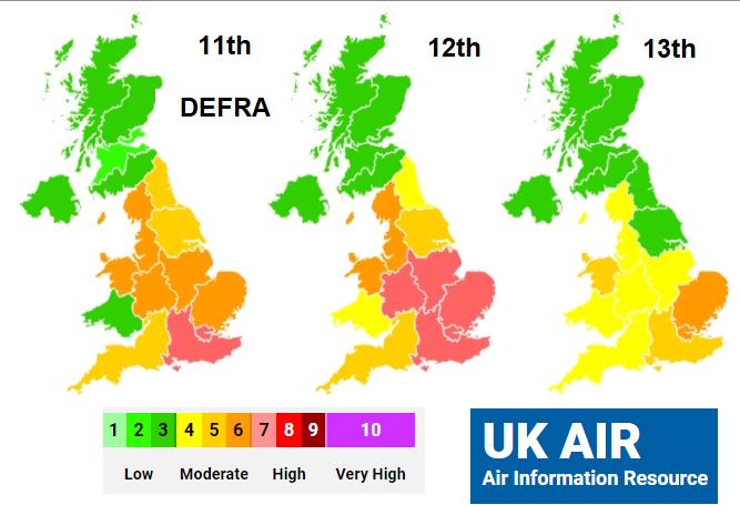 Air pollution UK air quality Ozone