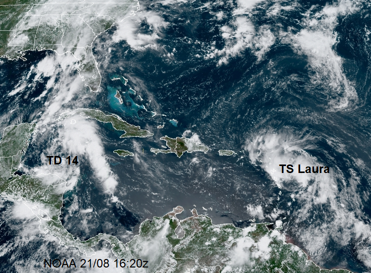 TS LAura and TD 14 atlantic hurricane