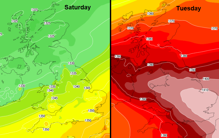 Hotting up early next week. A lot of weekend rain for western Scotland