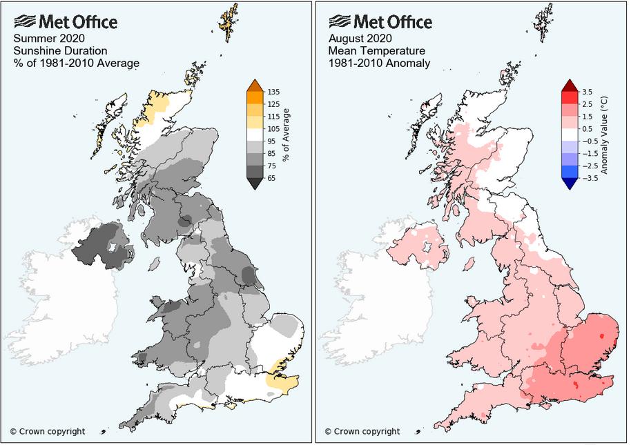UK summer September warmth weather