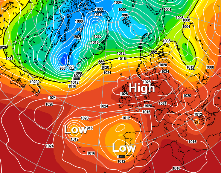 High pressure staying in charge this weekend but watch for some sharp southern showers