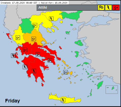 Meteo alarm Greece rain