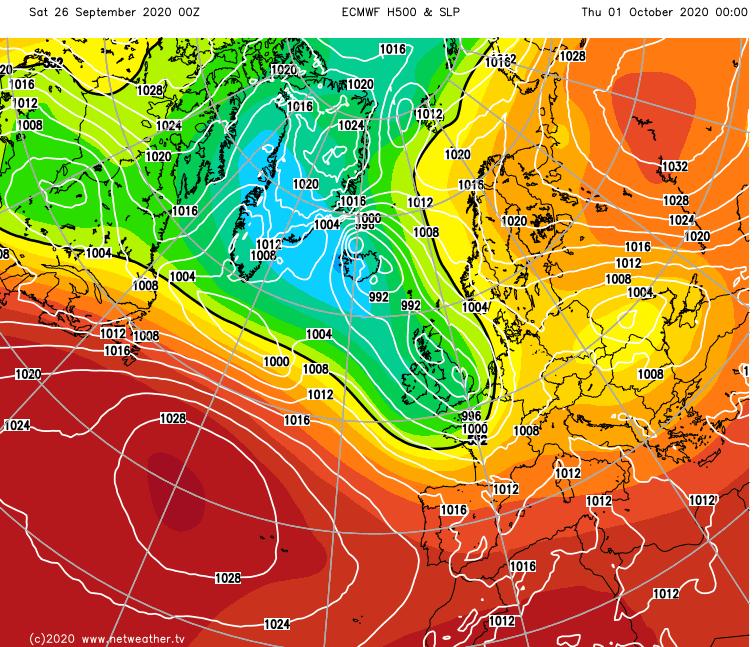 Low pressure over the UK mid next week