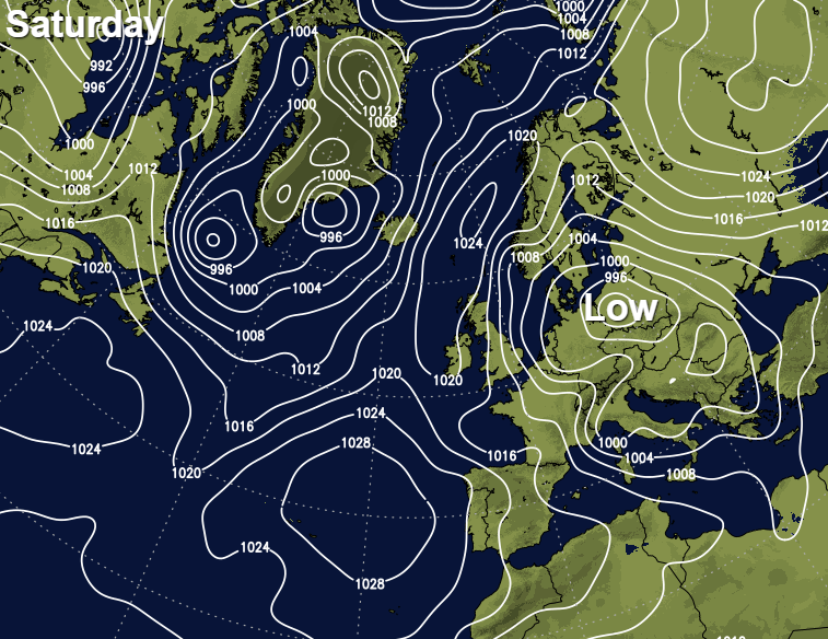Low pressure to the east of the UK this weekend