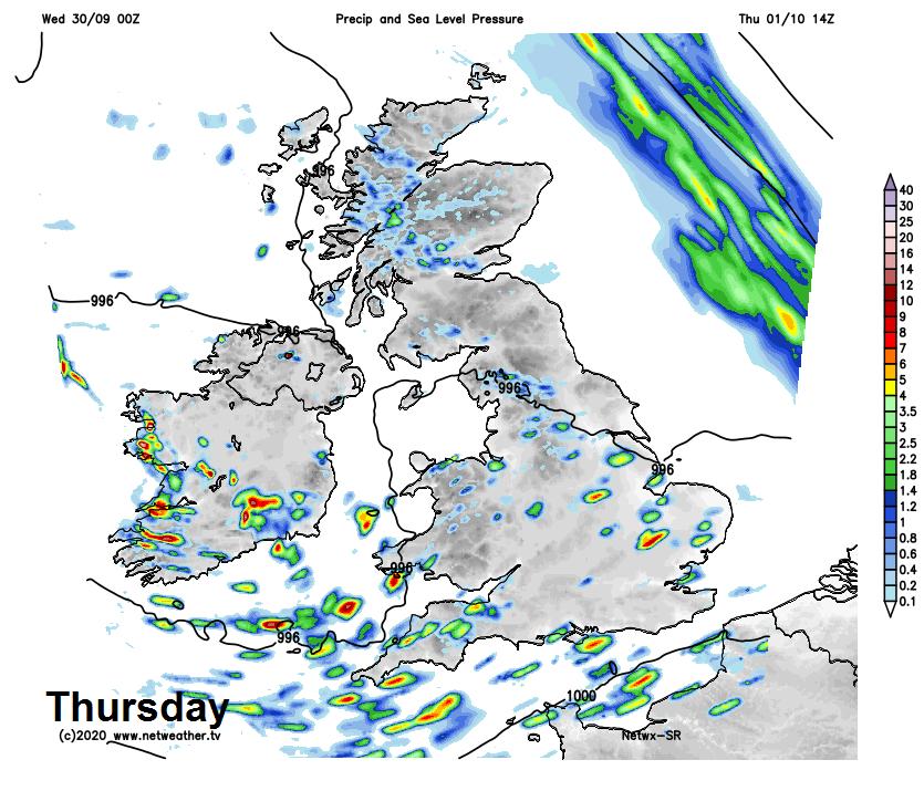 Showers on Thursday